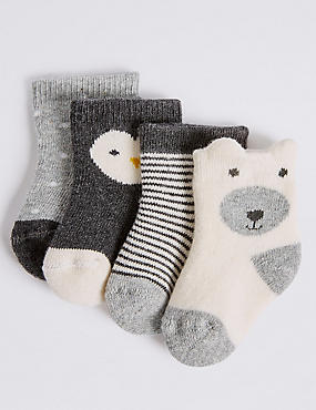 4 Pack of Cotton Rich Socks (0-24 Months), CREAM MIX, catlanding
