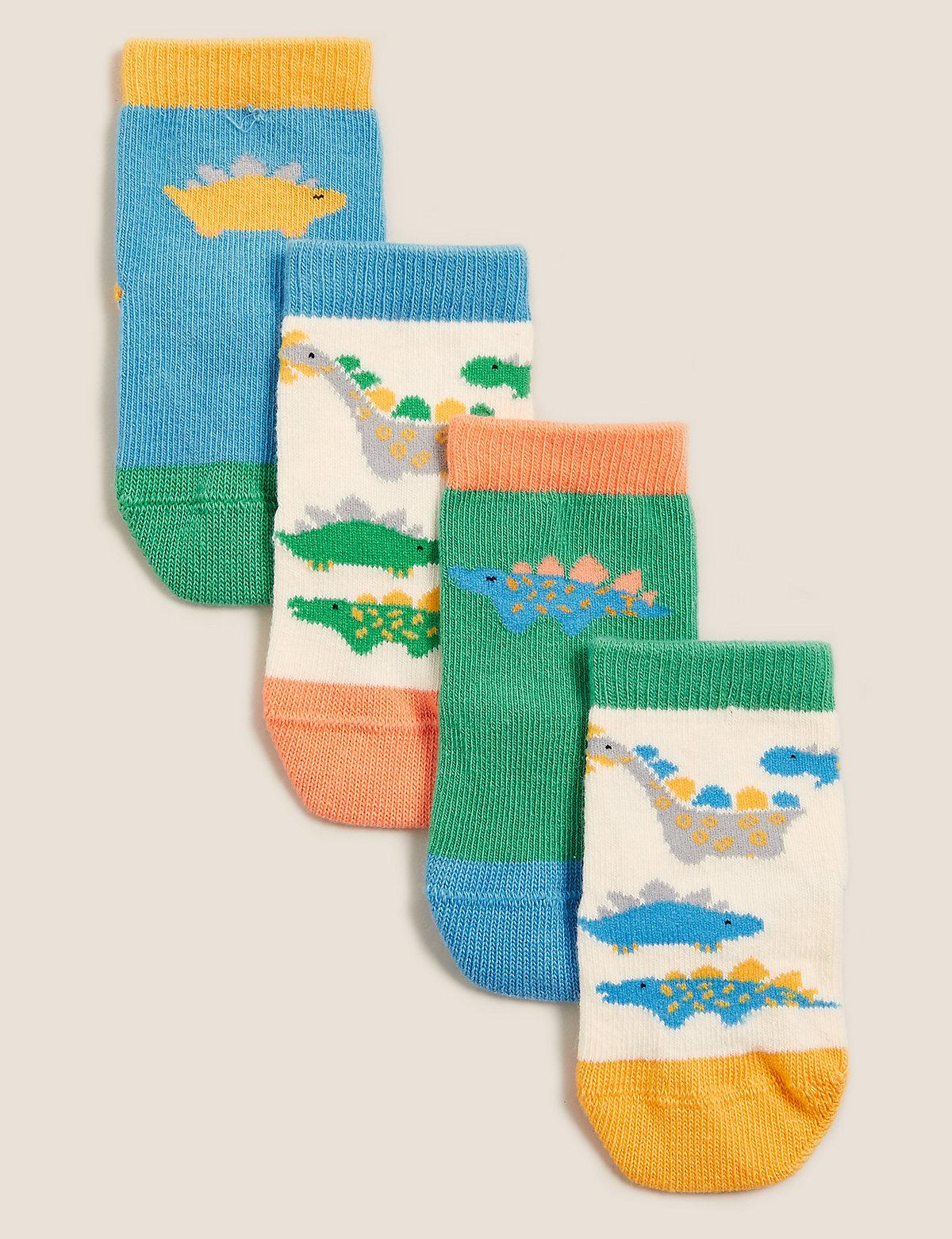 Детские носки из хлопка с динозаврами (4 пары)