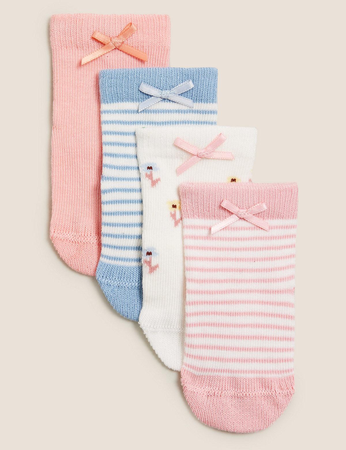 Детские носки из хлопка с цветочным рисунком и полосками (4 пары)