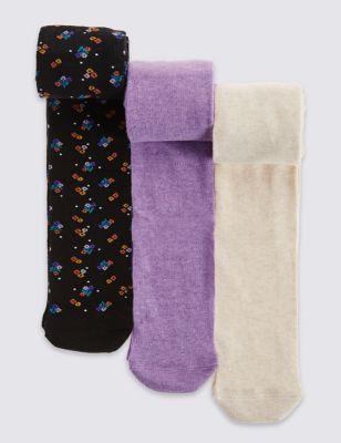Колготки Freshfeet™ однотонные и с цветочным дизайном для девочки 2-14 лет (3 пары) T646325