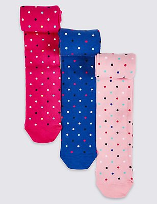 3 Pairs of Spotted Tights (18 Months - 8 Years), PINK MIX, catlanding