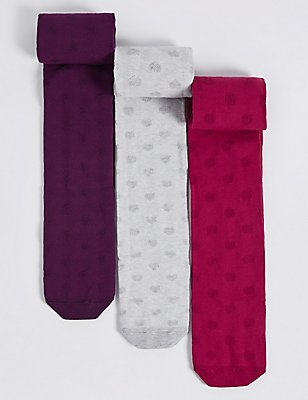 3 Pairs of Cotton Rich Freshfeet™ Tights (18 Months - 14 Years), BERRY, catlanding