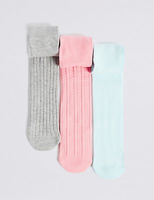 3 Pairs of Cotton Rich Freshfeet™ Tights (18 Months - 14 Years), MINT MIX, catlanding