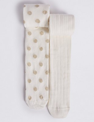 2 Pairs of Cotton Rich Freshfeet™ Tights (18 Months - 14 Years), ECO WHITE, catlanding