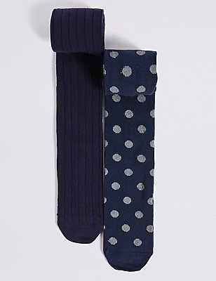 2 Pairs of Cotton Rich Freshfeet™ Tights (18 Months - 14 Years), NAVY, catlanding