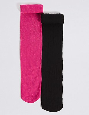 2 Pairs of 40 Denier Opaque Tights (4-14 Years), BRIGHT PINK, catlanding