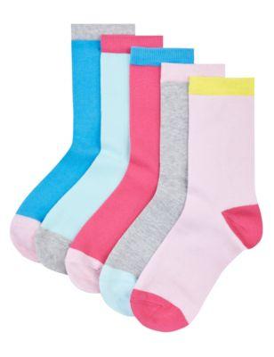 Однотонные носки с контрастной цветной отделкой и технологией Freshfeet™ для девочки 5-14 лет (5 пар)