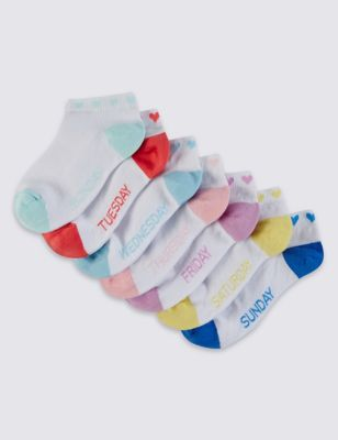 """Хлопковые низкие носки Freshfeet™ с цветным дизайном """"Дни недели"""" для девочки 5-14 лет (7 пар) T646798"""