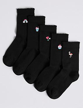 5 Pairs of Cotton Rich Socks (1-14 Years), BLACK, catlanding