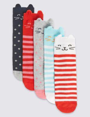 """Цветные хлопковые носки с дизайном """"Cat"""" в ассортименте для девочки 1-14 лет (5 пар) T646906"""