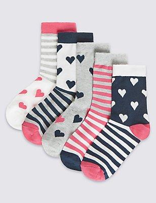 5 Pairs of Freshfeet™ Cotton Rich Socks (1-14 Years), NAVY MIX, catlanding