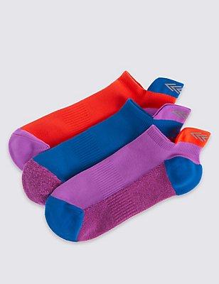 3 Pairs of Freshfeet™ Trainer Liner Socks (3-14 Years), SOFT WHITE, catlanding