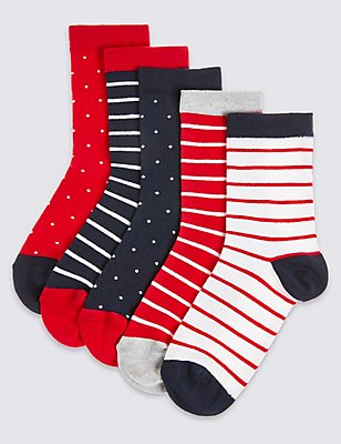 5 Pairs of Spotted & Striped Socks (1-14 Years), RED MIX, catlanding