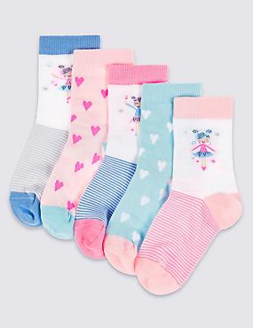 5 Pairs of Freshfeet™ Socks (1-6 Years), WHITE MIX, catlanding