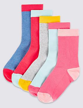 5 Pairs of Freshfeet™ Socks (1-14 Years), DENIM, catlanding