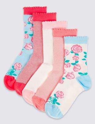 """Носки Freshfeet™ с дизайном """"Английская роза"""" для девочки 12 мес - 14 лет (5 пар) T646951"""