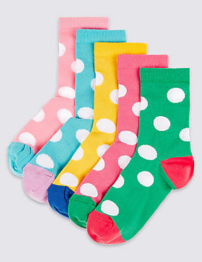 5 Pairs of Freshfeet™ Socks (1-14 Years), PINK MIX, catlanding