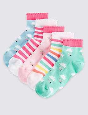 5 Pack of Cotton Rich Socks with Freshfeet™ (12 Months - 14 Years), PASTEL MIX, catlanding