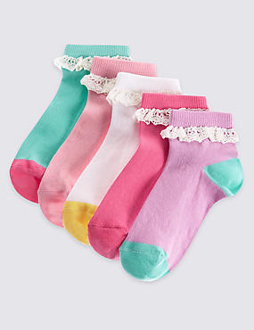 5 Pairs of Cotton Rich Socks with Freshfeet™ (12 Months - 14 Years), WHITE MIX, catlanding