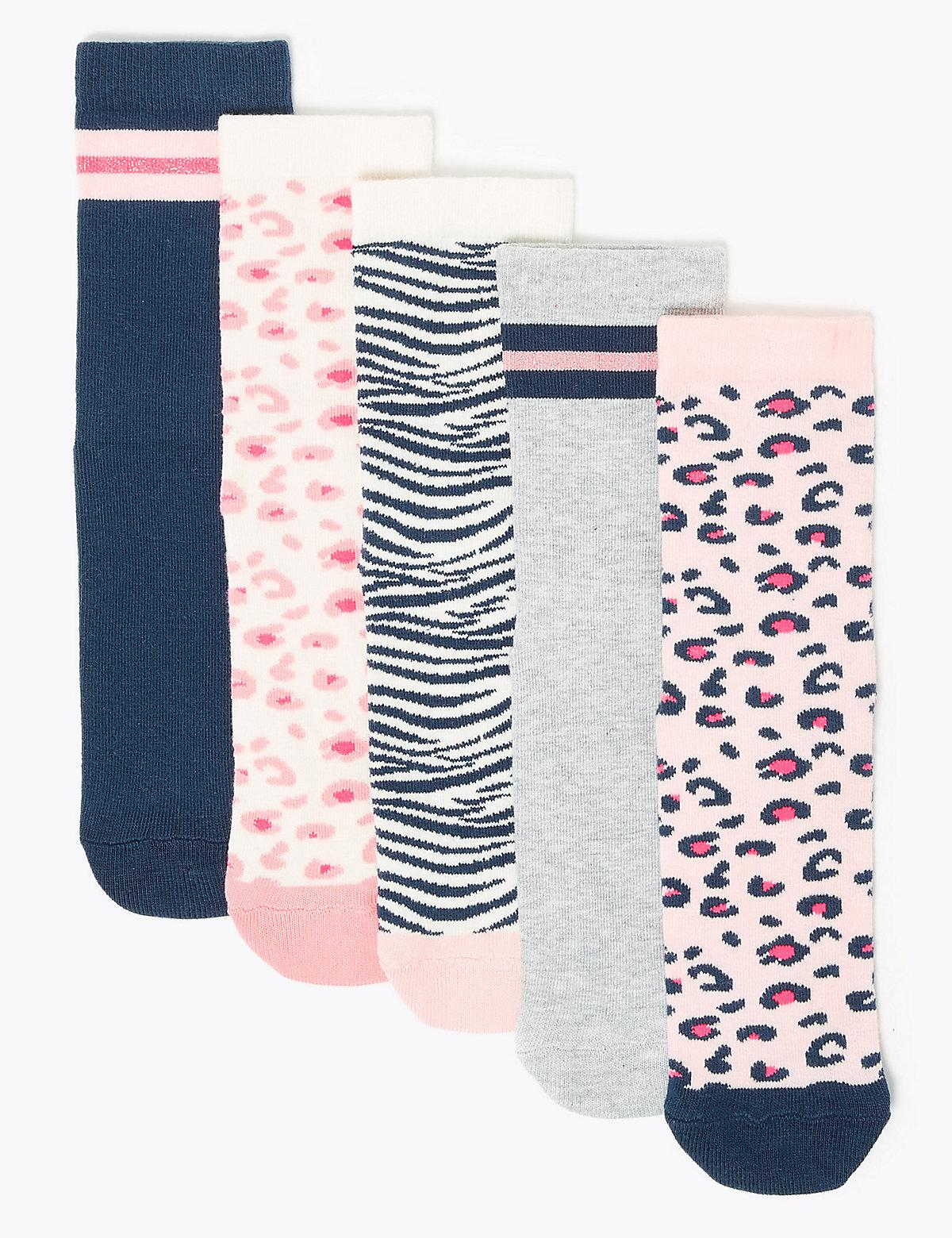 5 пар хлопковых носков для девочки в ассортименте