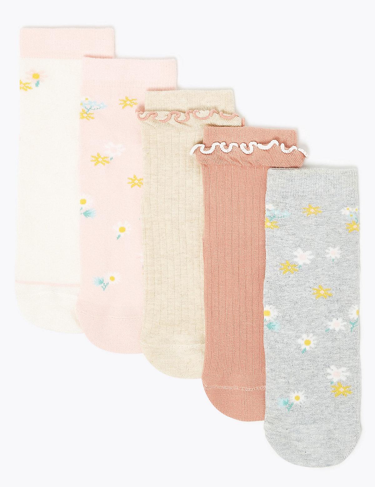 Комплект детских носков с оборками и цветочками (5 пар)