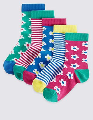 5 Pairs of Cotton Rich Socks with Freshfeet™ (1-6 Years), PASTEL MIX, catlanding