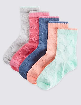 5 Pairs of Cotton Rich Socks with Freshfeet™ (1-14 Years), MULTI/BRIGHTS, catlanding