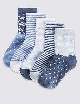 5 Pairs of Cotton Rich Socks with Freshfeet™ (12 Months - 14 Years), CHINA BLUE, catlanding
