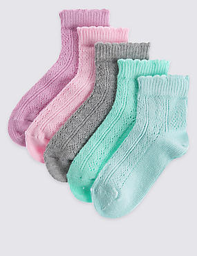 5 Pack of Freshfeet™ Cotton Rich Socks (12 Months - 14 Years), PASTEL MIX, catlanding