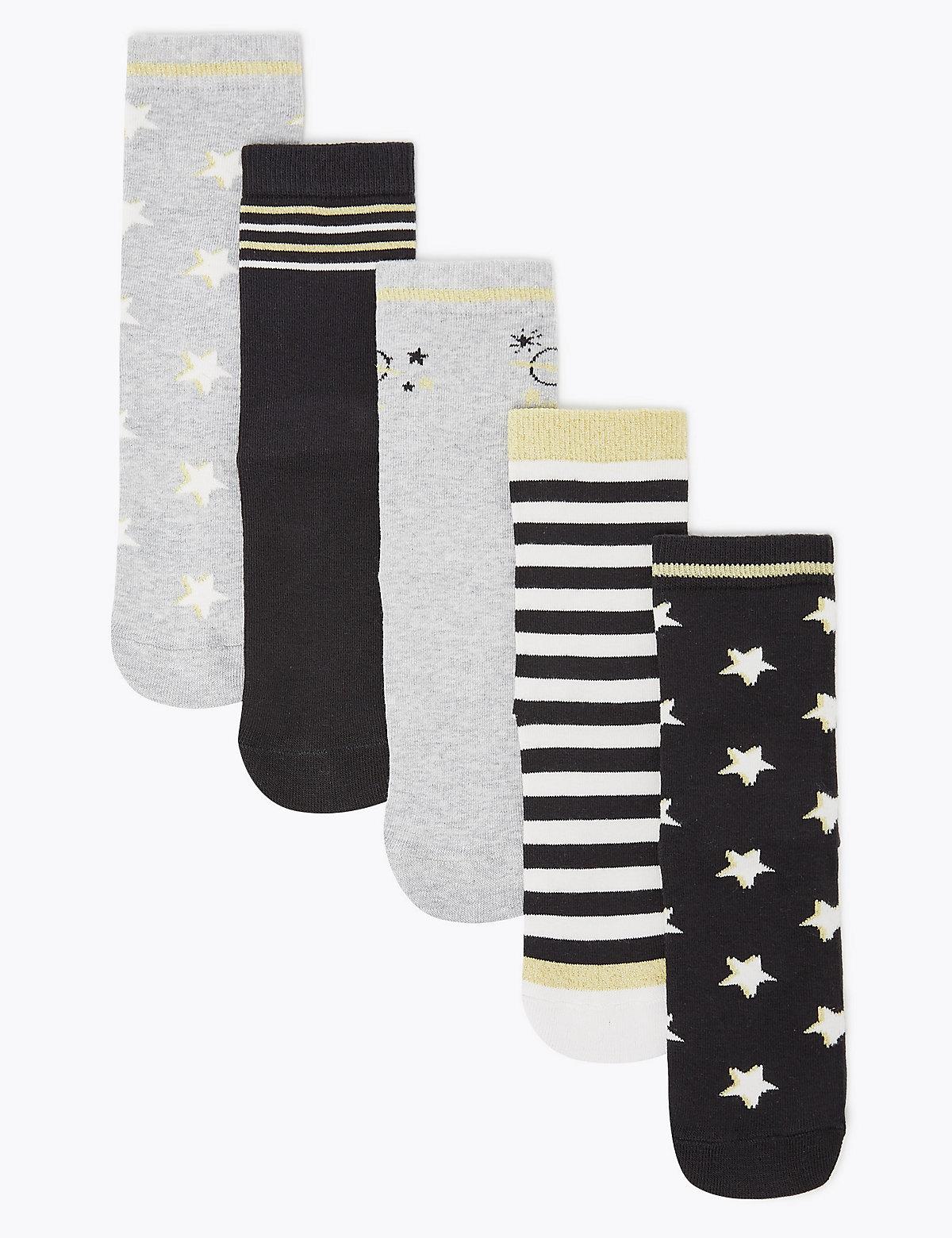 Носки для девочки с эффектом металлик (5 пар)