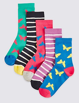 5 Pairs of Cotton Rich Socks (1-14 Years), PINK MIX, catlanding
