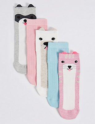 5 Paar Freshfeet™-Socken mit hohem Baumwollanteil (1–14 Jahre), WEISS MELANGE, catlanding