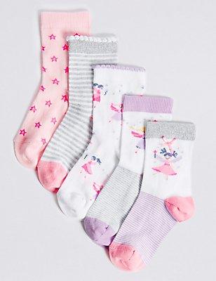 5 Pairs of Freshfeet™ Cotton Rich Socks (1- 6 Years), WHITE MIX, catlanding