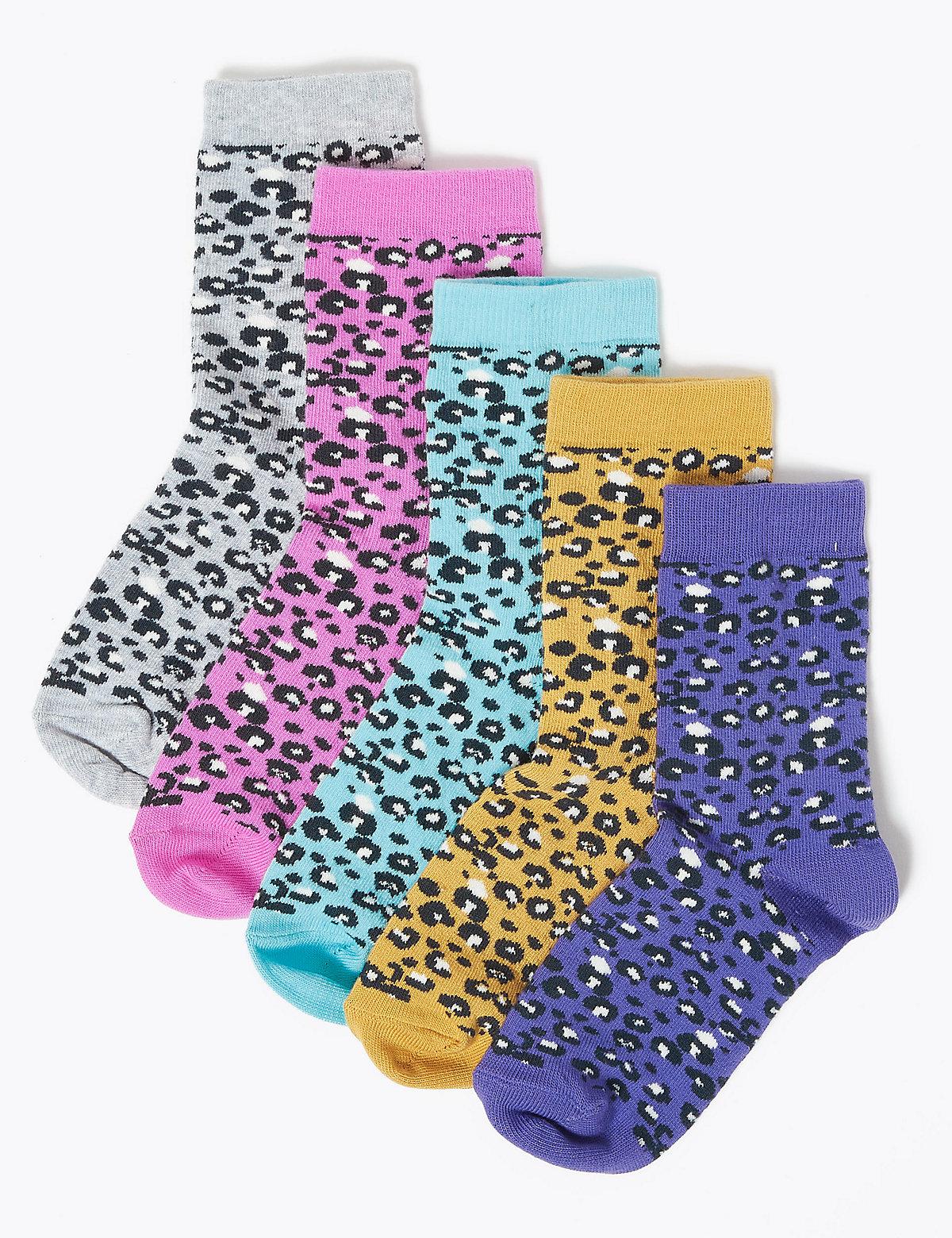 Носки хлопковые Freshfeet™ с леопардовым принтом для девочки (5 пар)