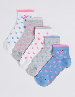 5 Pairs of Cotton Rich Freshfeet™ Socks (1-14 Years), GREY MARL, catlanding