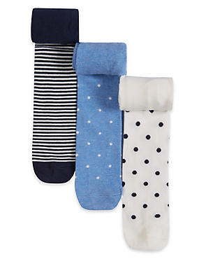 3 Pairs of Cotton Rich Stay Soft Assorted Socks