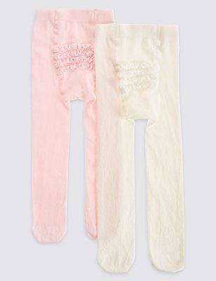 2 Pack Frilly Bum Cotton Rich StaySoft™ Tights (0-24 Months), PINK MIX, catlanding