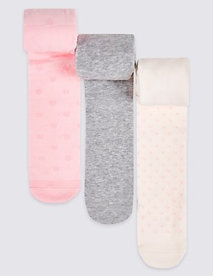 3 Pairs of Cotton Rich Tights (0-24 Months), PINK MIX, catlanding