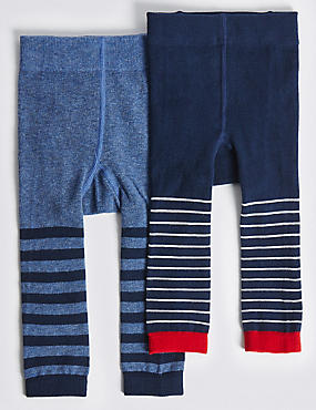 2 Pack Cotton Rich StaySoft™ Tights (0-24 Months), NAVY MIX, catlanding