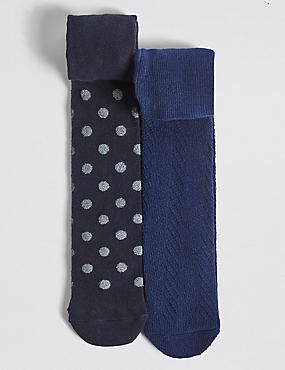 2 Pairs of Cotton Rich Tights with StaySoft™ (0-24 Months), NAVY, catlanding