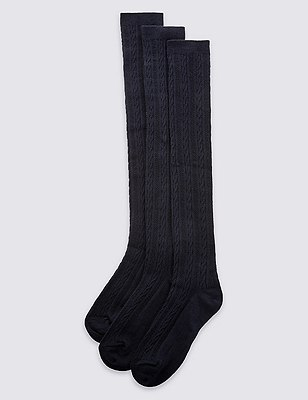 3 Pairs of Freshfeet™ Cable Navy Socks with Silver Technology(3-12 years), NAVY, catlanding