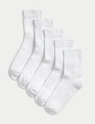 5 Pairs of Freshfeet™ Pelerine Socks (3-14 Years), WHITE, catlanding
