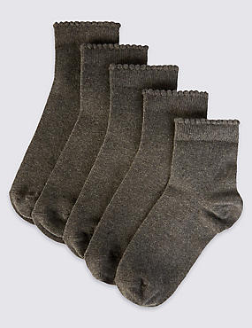 5 Pack of Freshfeet™ Cotton Rich Socks (3-14 Years), MID GREY MARL, catlanding