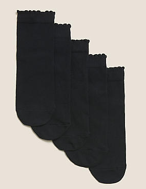 5 Pack of Freshfeet™ Cotton Rich Socks (3-14 Years), BLACK, catlanding