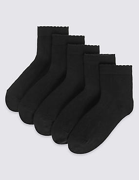 5 Pairs of Freshfeet™ Cotton Rich Short Socks (3-14 Years), BLACK, catlanding