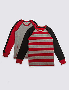 2 Pack Cotton Blend Thermal Tops (18 Months - 16 Years), RED/BLACK, catlanding