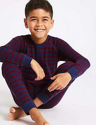 Cotton Blend Striped Thermal Set (18 Months - 16 Years), CLARET, catlanding