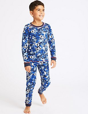 Cotton Blend All Over Print Thermal Set (18 Months - 16 Years), BLUE MIX, catlanding