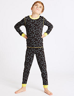 Cotton Blend Star Print Thermal Set (18 Months - 16 Years), ANTHRACITE, catlanding