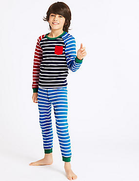 Cotton Blend Striped Thermal Set (18 Months - 16 Years), BRIGHT BLUE MIX, catlanding
